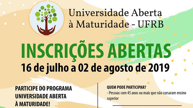 SAJ e Amargosa: UFRB abre inscrições para Programa Universidade Aberta à Maturidade - saj, destaque