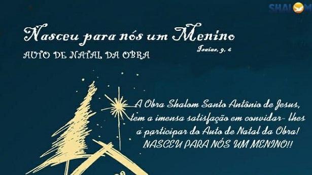 SAJ: Obra Shalom realiza Auto de Natal neste domingo, dia 8 - saj, noticias, destaque, catolico