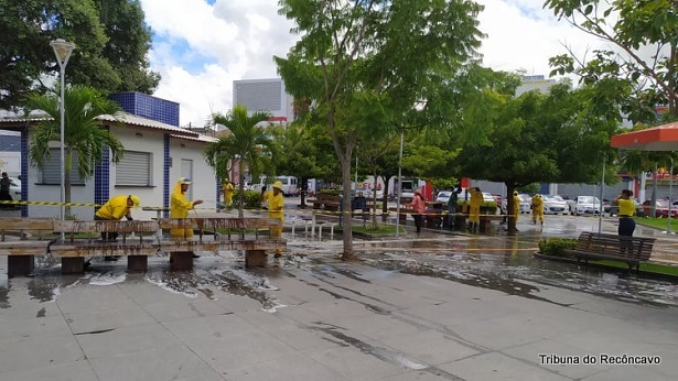 SAJ: Praça Padre Mateus passa por processo de lavagem e higienização - saj, noticias