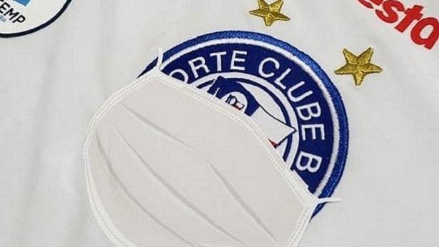Bahia cobre escudo com máscara em uniforme usado contra o Náutico, nesta quarta, 22 - esporte
