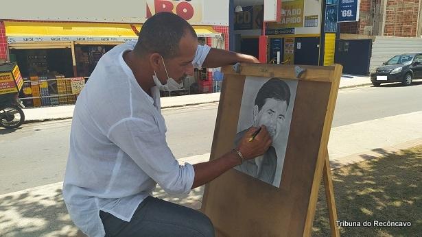 VÍDEO: Artista plástico faz pinturas ao ar livre em Santo Antônio de Jesus - videos, saj, noticias, destaque, arte