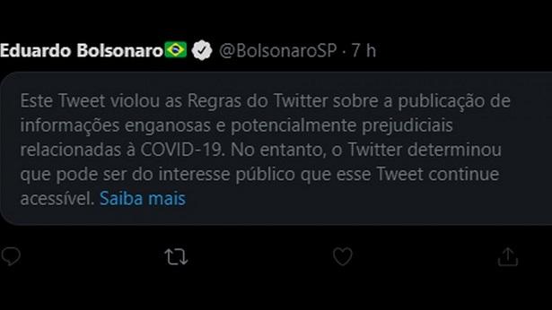 Twitter coloca aviso de publicação enganosa em post de Eduardo Bolsonaro - tecnologia, internet