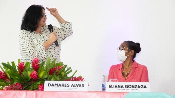 """Cachoeira: """"Mexeu com a senhora, mexeu com a gente"""", diz ministra Damares à prefeita - destaque, cachoeira"""