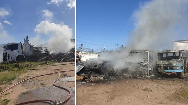 Feira de Santana: Carroceria de caminhão pega fogo em oficina; incêndio atinge outros veículos - noticias, feira-de-santana, bahia