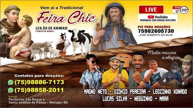 Mutuípe: É neste sábado (17) a tradicional Feira Chic em formato de live - noticias, mutuipe, destaque, catolico, bahia