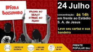 SAJ: Frente Popular realizará carreata Fora Bolsonaro neste sábado - saj, destaque