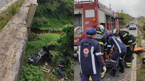 Conceição do Almeida: Bombeiros retiram homem das ferragens após carro cair da Ponte do Mocambo - conceicao-do-almeida, transito