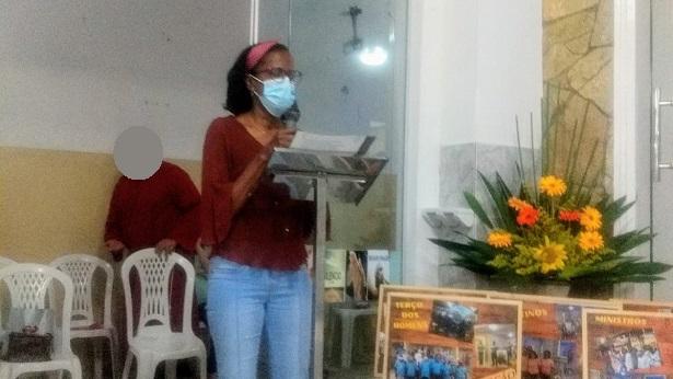 Mutuipense Maria do Carmo recita poesia na festa de Nossa Senhora do Perpétuo Socorro em SAJ - saj, noticias, mutuipe, catolico